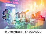 stock market trading graph and... | Shutterstock . vector #646064020