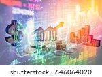 double exposure business props... | Shutterstock . vector #646064020