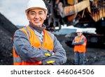 coal mine workers in an open pit | Shutterstock . vector #646064506