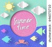summer time. paper concept... | Shutterstock .eps vector #646073710
