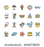 summer icon color thin line set ... | Shutterstock .eps vector #646073833