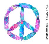 peace sign made of colored bird ... | Shutterstock .eps vector #646074718