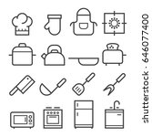 kitchen thin line icons   Shutterstock .eps vector #646077400