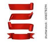 set red ribbons. vector... | Shutterstock .eps vector #646078294