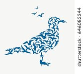 seagulls silhouette. abstract... | Shutterstock .eps vector #646082344