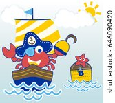 crab the cute pirate on... | Shutterstock .eps vector #646090420