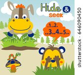 cute animals play hide and seek ... | Shutterstock .eps vector #646090450
