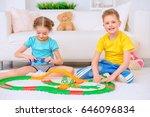 happy joyful children playing... | Shutterstock . vector #646096834