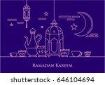 eid al fitr background in mono... | Shutterstock .eps vector #646104694