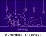 eid al fitr background in mono... | Shutterstock .eps vector #646104814