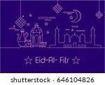 eid al fitr background in mono... | Shutterstock .eps vector #646104826