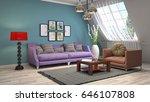 interior living room. 3d... | Shutterstock . vector #646107808