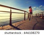 young fitness woman runner... | Shutterstock . vector #646108270
