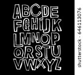 alphabet poster  dry brush ink... | Shutterstock .eps vector #646113076