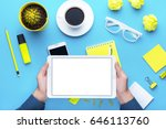 workplace with office tools and ... | Shutterstock . vector #646113760