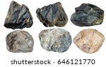 set of stones isolated on white ... | Shutterstock . vector #646121770