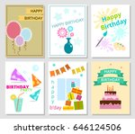 set of six birthday cards.... | Shutterstock .eps vector #646124506