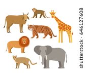 a set of african animals. flat... | Shutterstock .eps vector #646127608
