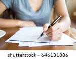 close up of woman filling...   Shutterstock . vector #646131886