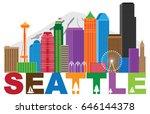 seattle washington downtown... | Shutterstock .eps vector #646144378