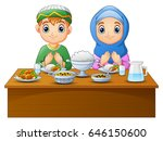 vector illustration of muslim... | Shutterstock .eps vector #646150600
