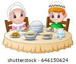 vector illustration of muslim... | Shutterstock .eps vector #646150624