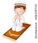 muslim kid sitting on the... | Shutterstock . vector #646150723