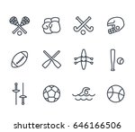 sports and games line icons on... | Shutterstock .eps vector #646166506