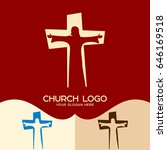 church logo. cristian symbols.... | Shutterstock .eps vector #646169518