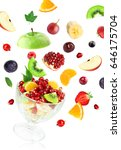 fresh mixed fruits falling on... | Shutterstock . vector #646175704