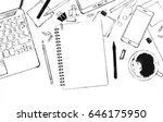 realistic workplace... | Shutterstock .eps vector #646175950
