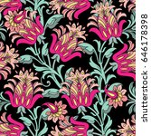 seamless pattern with floral... | Shutterstock .eps vector #646178398