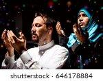 muslim man praying to god in