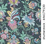 seamless pattern with floral... | Shutterstock .eps vector #646179130