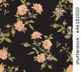embroidery seamless floral... | Shutterstock .eps vector #646181020