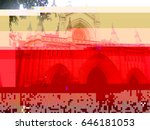 glitch image of a church in... | Shutterstock . vector #646181053