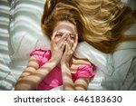 young pretty woman waking up in ... | Shutterstock . vector #646183630