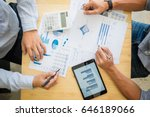 two businessman calculating tax ... | Shutterstock . vector #646189066