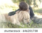 small boy embracing sweetly his ... | Shutterstock . vector #646201738