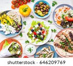 greek food background. meze ... | Shutterstock . vector #646209769