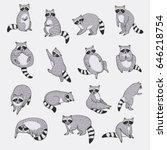 cute raccoon animal doodle hand ... | Shutterstock .eps vector #646218754