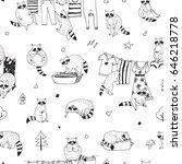 cute raccoon animal doodle hand ... | Shutterstock .eps vector #646218778