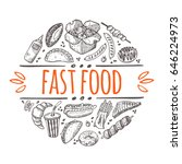 fast food concept. hand drawn... | Shutterstock .eps vector #646224973