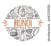 brunch concept. hand drawn... | Shutterstock .eps vector #646225030