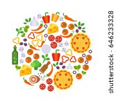 round design element with pizza ... | Shutterstock .eps vector #646233328
