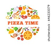 white frame on pizza... | Shutterstock .eps vector #646233379