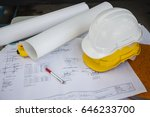 white and yellow hard safety... | Shutterstock . vector #646233700