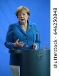 Small photo of JULY 12, 2016 - BERLIN: German Chancellor Angela Merkel at a press conference after a meeting with the Irish Prime Minister in the Chanclery.