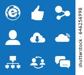 set of 9 social filled icons... | Shutterstock .eps vector #646256998