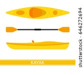 kayak vector icon with paddles... | Shutterstock .eps vector #646272694
